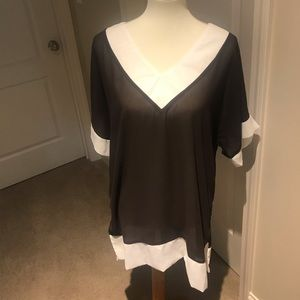Tops - Sheer brown and white tunic top